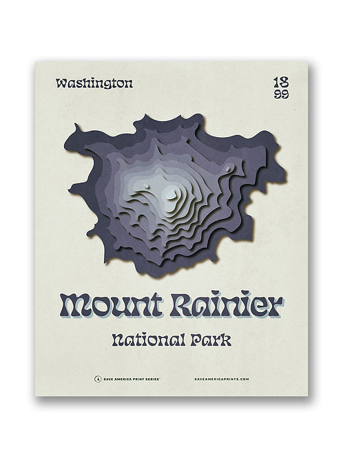Mount Rainier Retro Topograph Poster