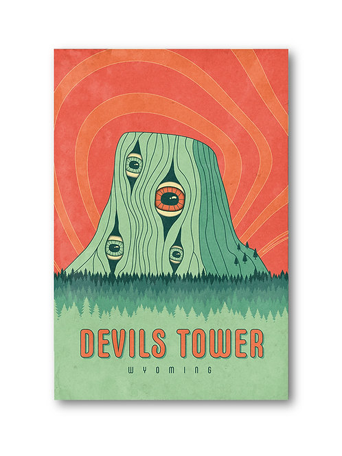 Devil's Tower Psychedelic Poster
