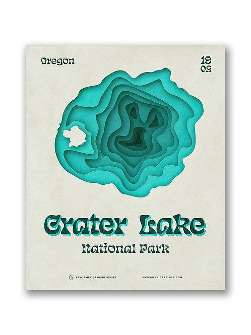 Crater Lake Retro Topograph Poster