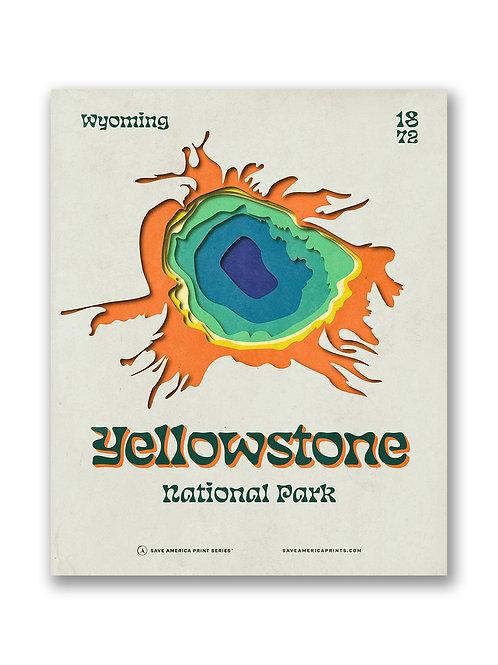 Yellowstone Retro Topograph Poster