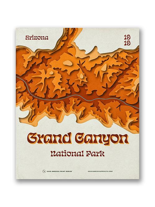 Grand Canyon Retro Topograph Poster