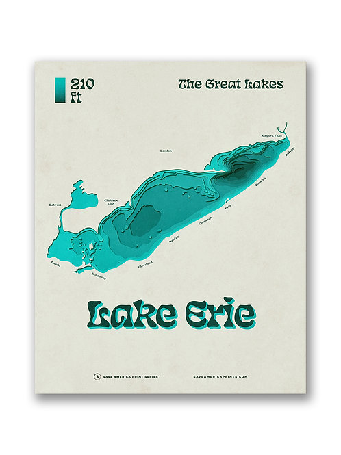 Lake Erie Retro Relief Map Poster