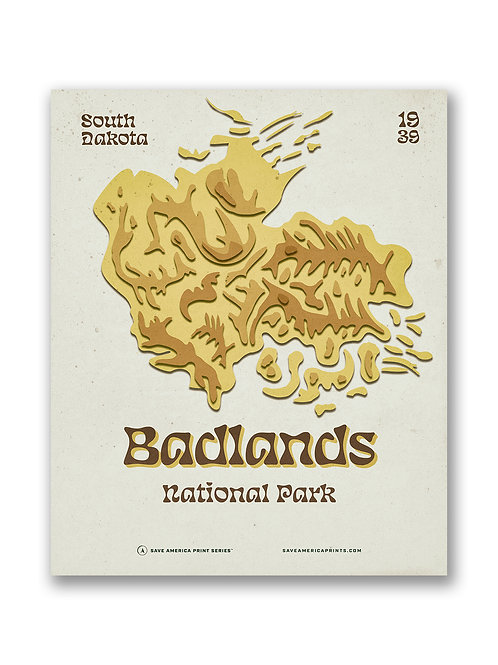 Badlands Retro Topograph Poster