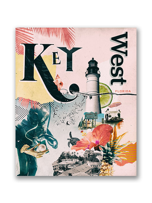 Key West Collage Travel Poster
