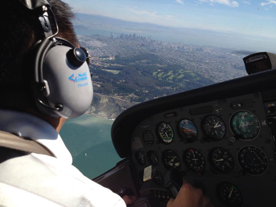 "Chris's view from the pilot seat of his Cessna 172, flying over San Francisco in 2010."" (Photo credit April Hickey.)"