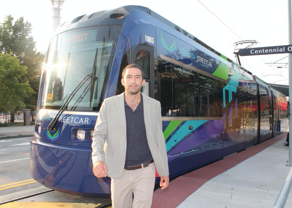 Simon Berrebi in front of Atlanta Streetcar, July 2015. (Photo credit Simon Berrebi.)