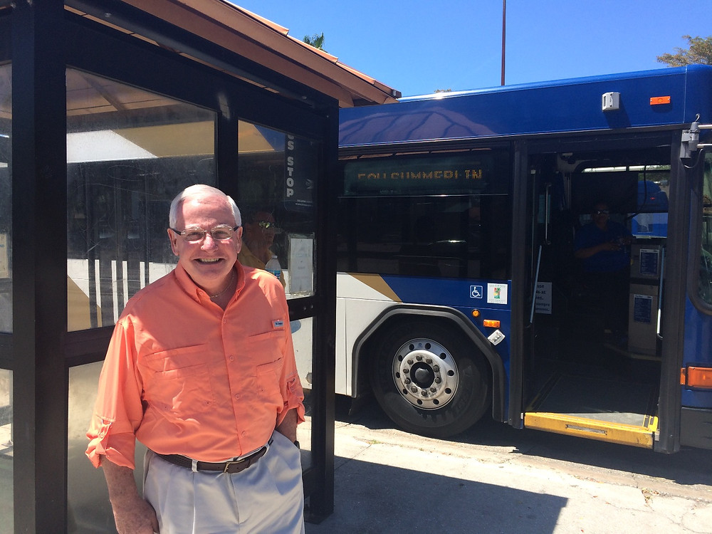 Jack Leary, in front of a LeeTran bus in Fort Myers, Florida in April 2016. Photo credit Laura Lee Huttenbach