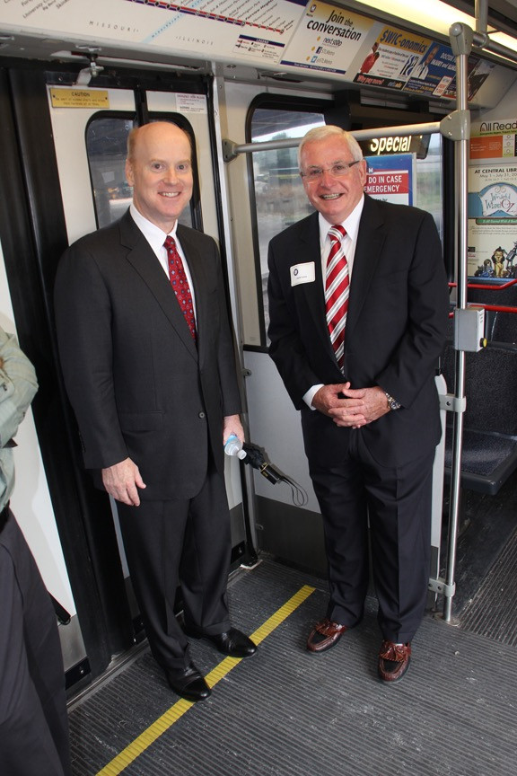 Jack Leary with John Nations, the current President and CEO of Bi-State Development, at the MetroLink's Twentieth Anniversary in St. Louis in 2013.