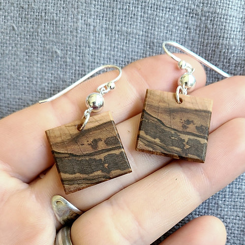 """Earrings with Natural """"Landscape"""" Design"""