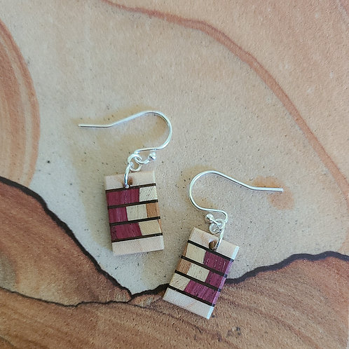 Colorful Earrings with Fine Marquetry