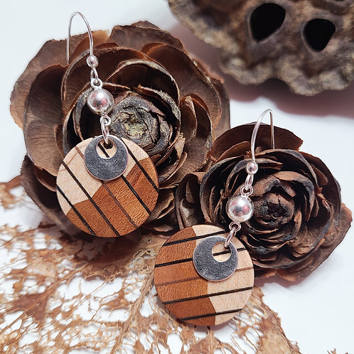 Veneer Inlayed Earrings with Decorative Elements