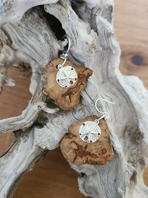 Driftwood Earrings with Sanddollar Charms