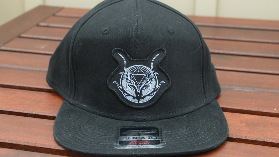 Logo Patch Hat - Black 6-panel Flat Brim