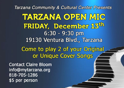 Next Tarzana Open Mic Is Friday, Dec. 13!