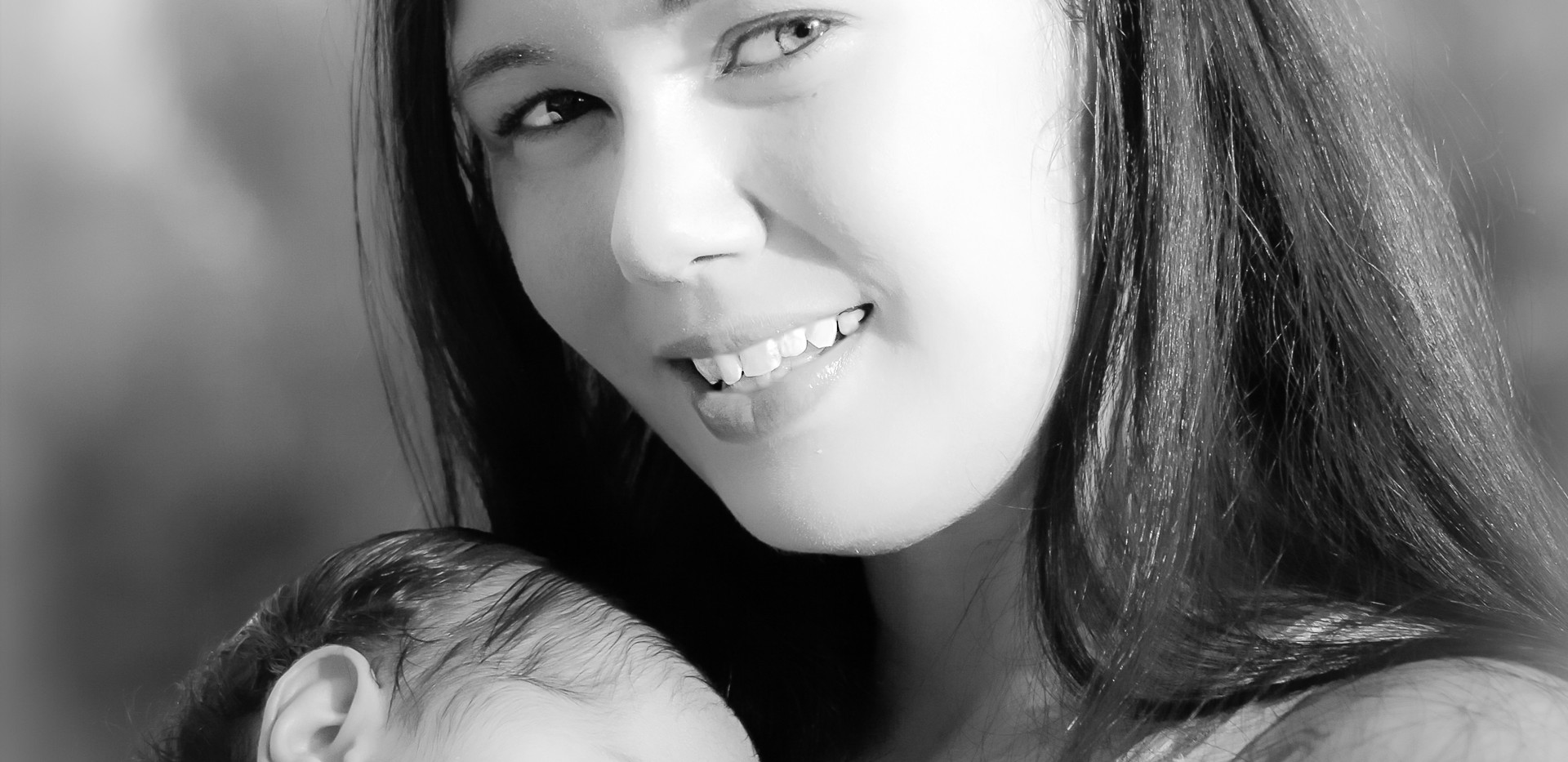 Mother and Baby Portrait in Black and White