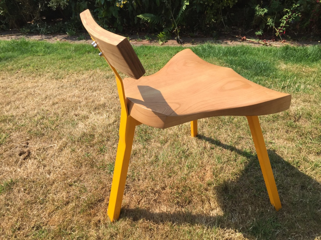 cherry , powder coated metal frame chair