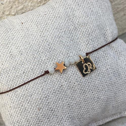 cordon perles nacrées blanches / étoile or