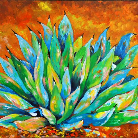 BLUE GREEN AGAVE Oil, 30x42 Framed