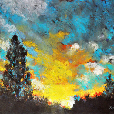 TURQUOISE SKY, Pastel, 15x18 framed