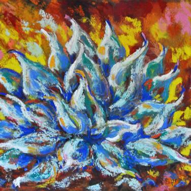 AGAVE AFIRE Pastel, 15x18 Framed