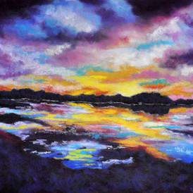 LAKE REFLECTIONS Pastel, 26x30 framed