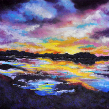 LAKE REFLECTIONS, Pastel 26x30 framed