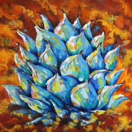 LIGHT BLUE AGAVE Pastel, 21x20 Framed