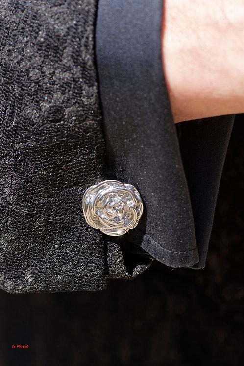 Boutons de Manchette en Métal vintage forme une rose amovible