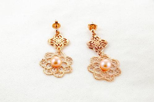 Boucles d'oreille Constance en cuivre et perles de culture