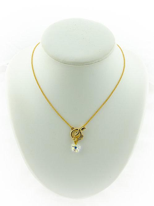 Collier Tulipe, doré et pendentif fleur en Cristal de Swarovski