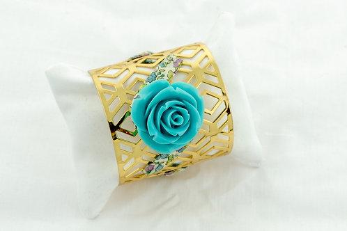 Manchette dorée liberty et rose turquoise