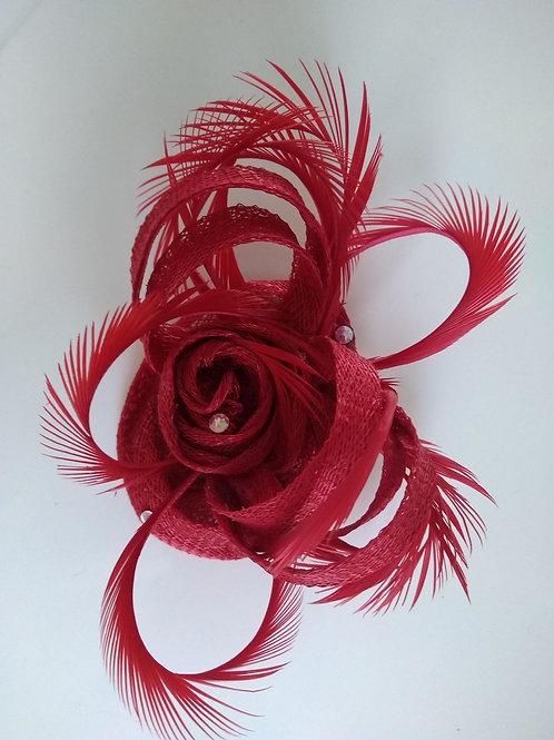 Barrettes  à fleurs rouge à plumes et Sisal