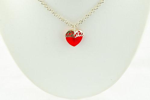 Collection mon Amour collier coeur rouge et boucles d'oreilles