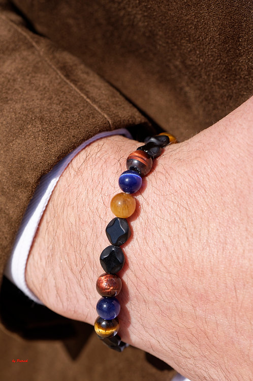 bracelet tricolors en Pierres Fines Onyx, oeil de tigre, oeil de taureau