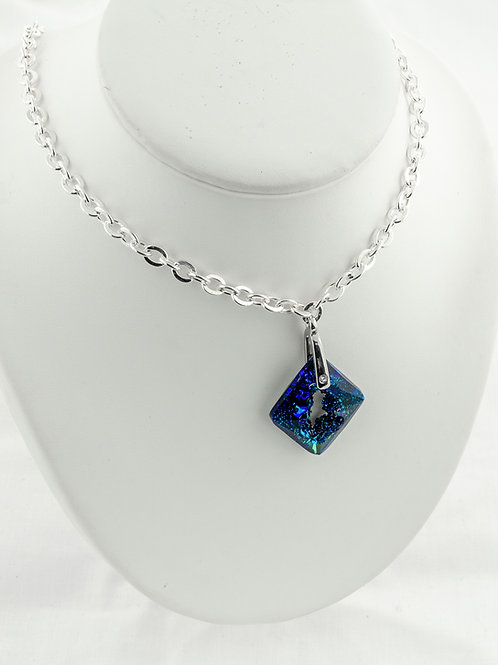 Collier Losange bleu en Cristal de Swarovski
