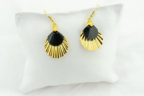 Boucles d 'oreille des îles avec cristal de Swarovski et coquille dorée