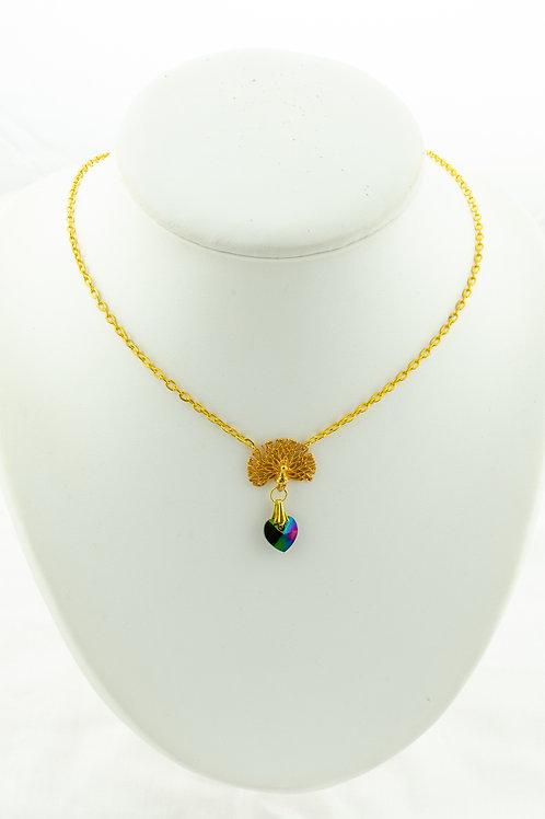 Collier Paon en Cristal et chaîne fine dorée