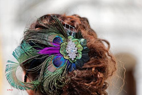 coiffe en plume de paons et strass