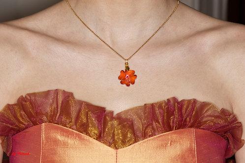 Collier trèfle en Cristal de Swarovski orange autres coloris