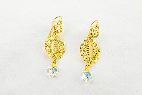Boucles d'oreille Réa doré et en Cristal de Swarovski