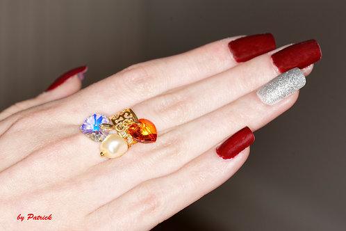 Bague Margot trois pendentifs avec coeur en Cristal