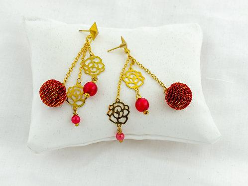 Boucles d'oreilles Pompons rouge et or