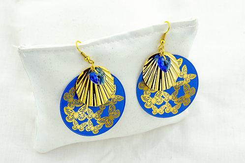 Boucles d'oreille impériales bleu et or
