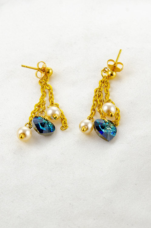 Boucles d'oreille Isabella   en Cristal bleu et dorées