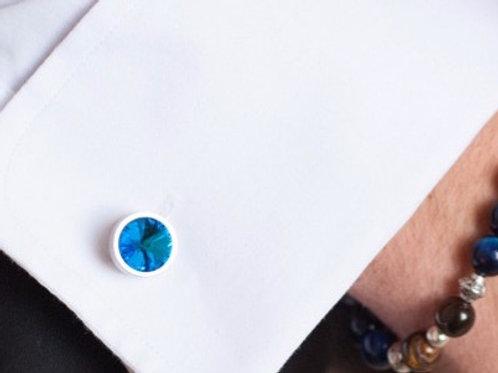 Boutons de Manchette en Cristal de Swarovski bleu ou autres coloris