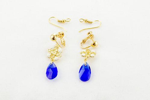 Boucles d'oreilles  Impératrice en Cristal bleu roy