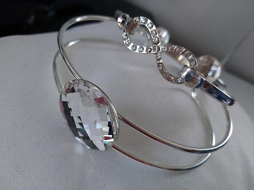 Bracelet jonc femme en argent et strass