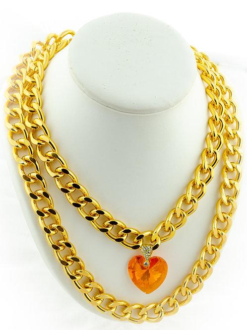 Collier agrumes avec un pendentif en coeur orange cristal de Swarovski