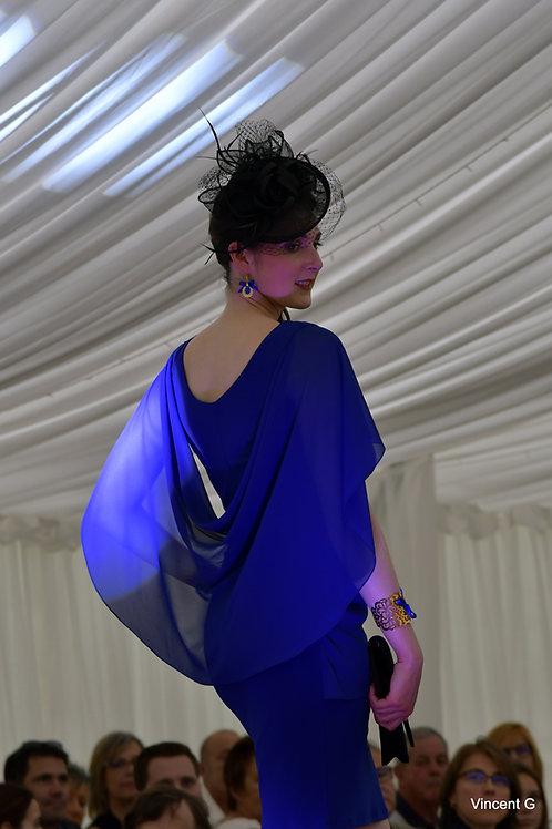 Robe papillon avec voilage et perles en Cristal de Swarovski