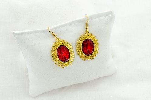 Boucles Baroque dorées avec Cabochon rouge en Cristal de swarovski